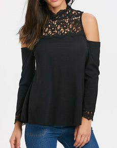 Crochet Lace Cold Shoulder Blouse | Grealz.com - Enjoy Free Shipping