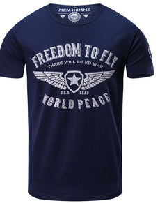 Cotton Slim Fit FREEDOM FLY Tee | Grealz.com - Enjoy Free Shipping