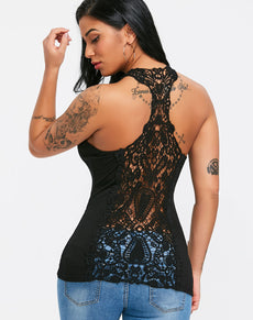 Lace Back U Neck Tank Top | Grealz.com - Enjoy Free Shipping