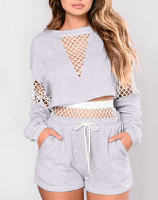 Hollow Out Crop Top & Shorts | Grealz.com - Enjoy Free Shipping