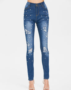 Beaded High Waist Denim Jeans | Grealz.com - Enjoy Free Shipping