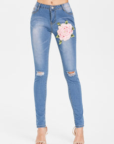 Floral Ripped Mid Waist Denim Jeans | Grealz.com - Enjoy Free Shipping
