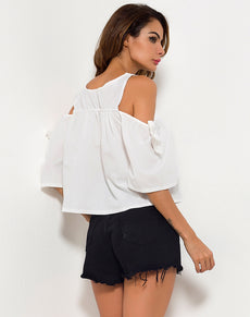 Off Shoulder Floral Loose Shirt | Grealz.com - Enjoy Free Shipping