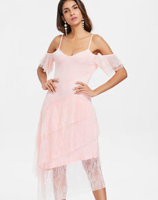 Ruffle Sleeve Overlay Dress | Grealz.com - Enjoy Free Shipping