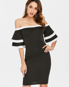 Black Flare Sleeve Bodycon Dress | Grealz.com - Enjoy Free Shipping