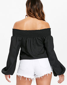 Elastic Off Shoulder Blouse | Grealz.com - Enjoy Free Shipping