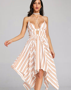 Criss Cross Strappy Striped Dress | Grealz.com - Enjoy Free Shipping