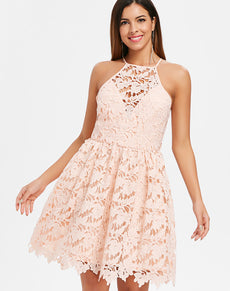 Bib Neck Lace Skater Dress | Grealz.com - Enjoy Free Shipping