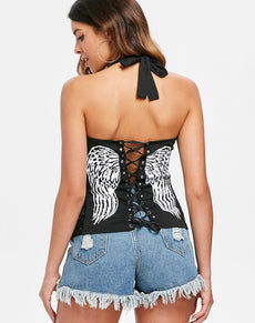Halter Top Lace Up Back Top | Grealz.com - Enjoy Free Shipping
