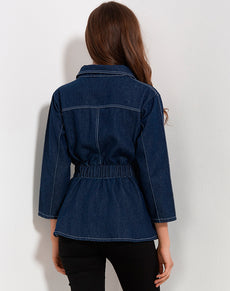 Denim Ruffles Blue Jacket | Grealz.com - Enjoy Free Shipping