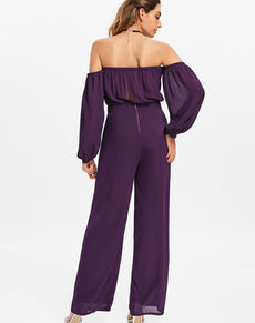 Puff Sleeves Palazzo Jumpsuit | Grealz.com - Enjoy Free Shipping