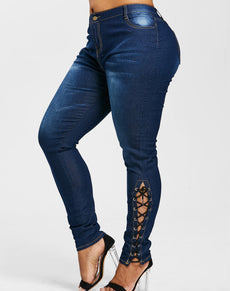 Plus Size High Waist Denim Jeans | Grealz.com - Enjoy Free Shipping
