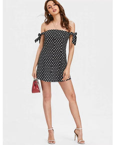 Polka Dot Knotted Off Shoulder Dress | Grealz.com - Enjoy Free Shipping