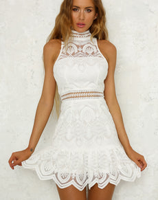 Mock Neck Ruffle Lace Dress | Grealz.com - Enjoy Free Shipping