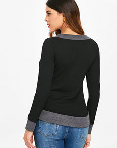 Knitted V Neck Two Tone Top | Grealz.com - Enjoy Free Shipping
