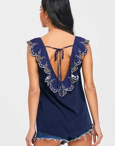 Embroidery Overlay Open Back Blouse | Grealz.com - Enjoy Free Shipping
