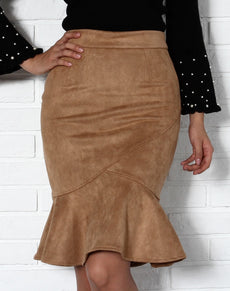 Suede Ruffle High Waist Skirt
