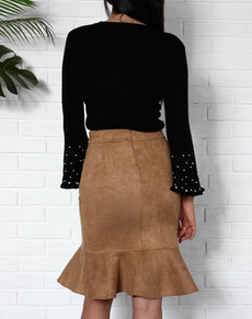 Suede Ruffle High Waist Skirt | Grealz.com - Enjoy Free Shipping