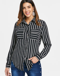 Front Pocket Striped Shirt | Grealz.com - Enjoy Free Shipping