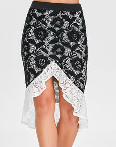 High Waist Flounced Lace Skirt | Grealz.com - Enjoy Free Shipping