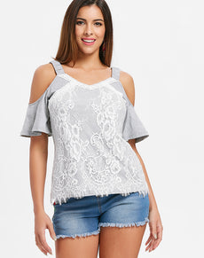Cold Shoulder Lace Insert T Shirt | Grealz.com - Enjoy Free Shipping