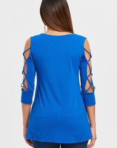 Criss Cross Scoop Neck Top | Grealz.com - Enjoy Free Shipping
