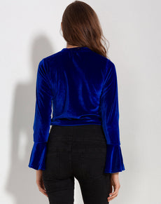 Flare Blue Velvet Blouse | Grealz.com - Enjoy Free Shipping