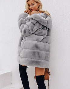 Vintage Fluffy Faux Fur Coat | Grealz.com - Enjoy Free Shipping
