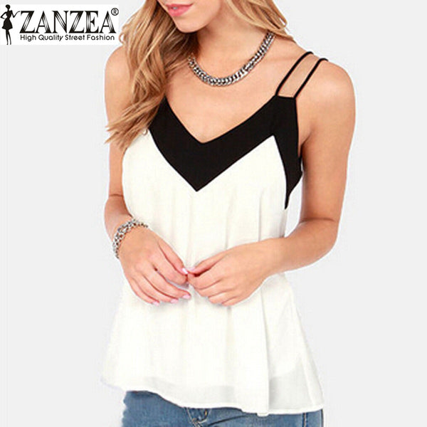2017 Summer Style Tank Top Vest Women V-Neck Sleeveless Halter Blouse Shirt Sexy Casual Loose Tops Chiffon Blusas Plus Size