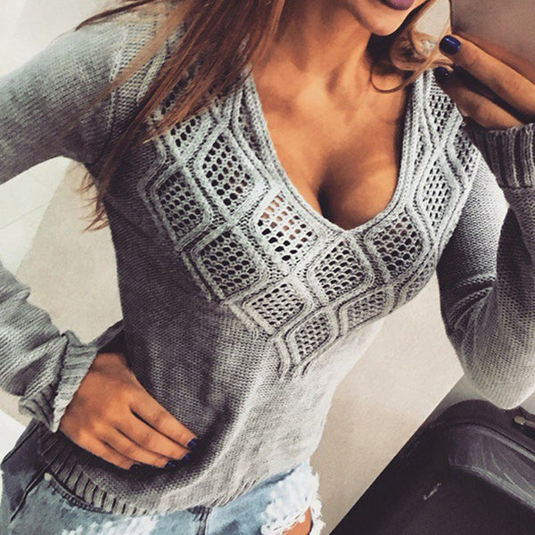 2017 New Fashion Women Sweaters Pullovers Casual Geometric V Neck Hollow Out Spring Autumn Knitted Tops Sexy Pull Femme Jumper