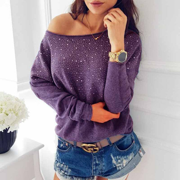 2017 Fashion Women Crew Neck Long Sleeve Diamonds Casual Blouse Office Ladies Pullover Top Loose Solid Party Shirt Blusas