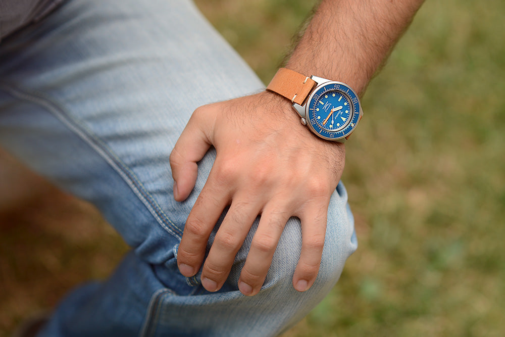 Squale 1521 blue blasted on wrist