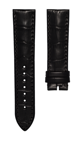 Leather strap with croco pattern - black - 22 mm