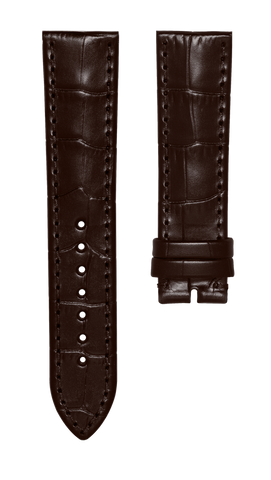Leather strap with croco pattern - dark brown - 22 mm