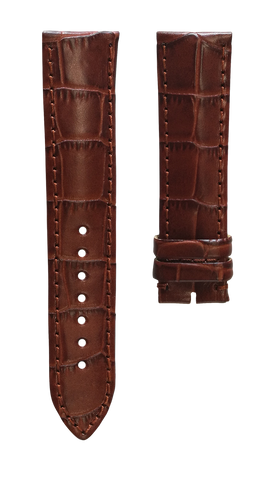 Leather strap with croco pattern - light brown - 22 mm
