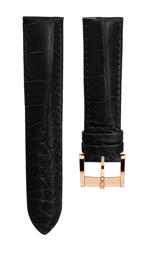 Leather strap from genuine aligator - black - 22 mm - rosegold plated buckle