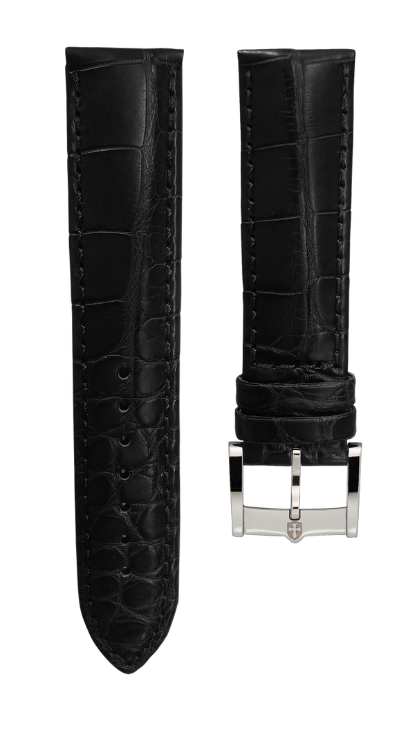 Leather strap from genuine aligator - black - 22 mm - steel buckle