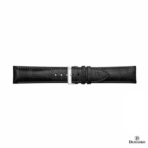 DAMASKO ALIGATOR STRAP BLACK - pin buckle