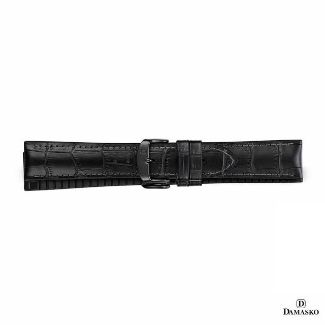 "DAMASKO RUBBER LEATHER STRAP ""PAUL"" - black buckle - www.toptime.eu"