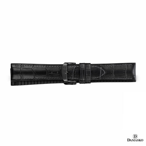 "DAMASKO RUBBER LEATHER STRAP ""PAUL"" - black buckle"