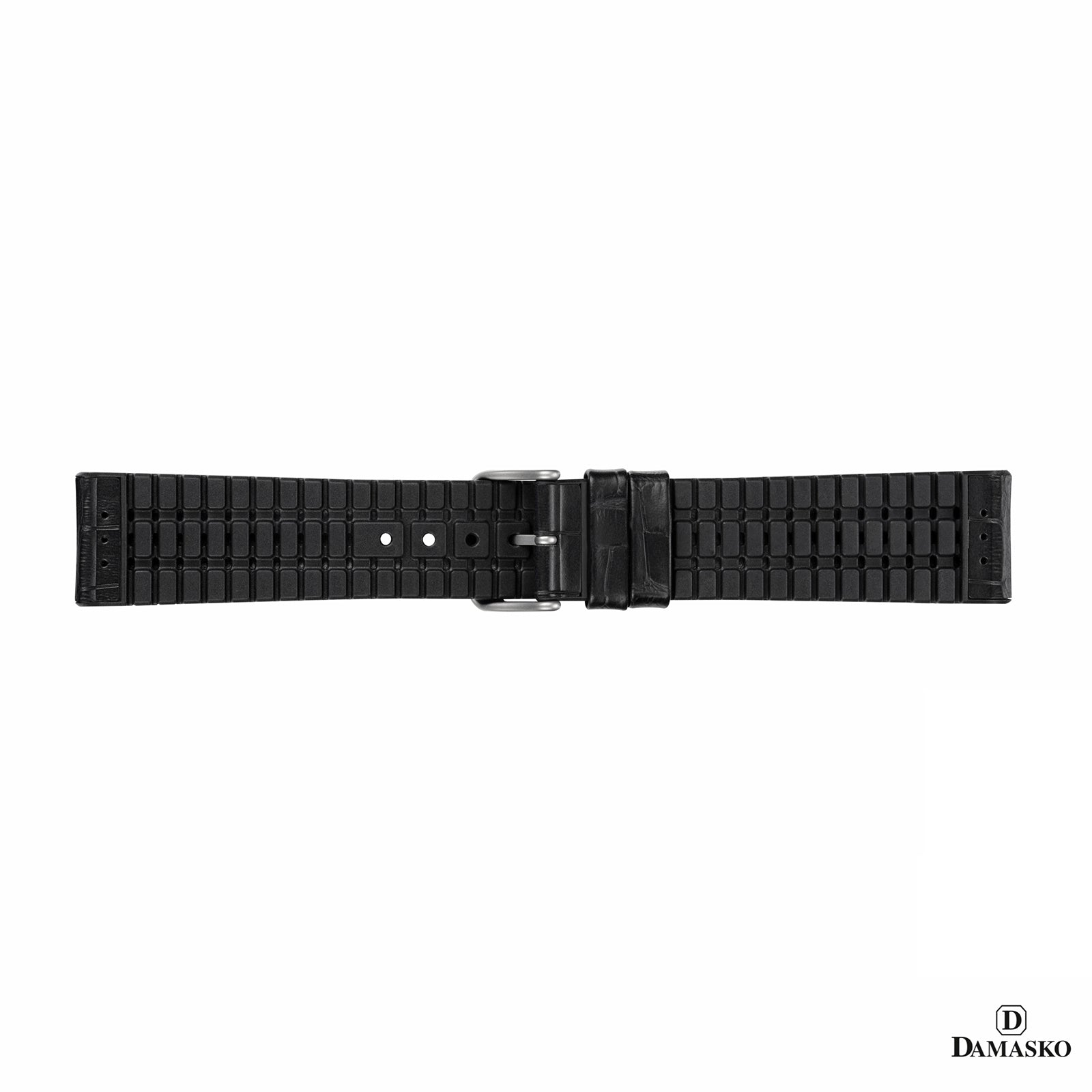 "DAMASKO RUBBER LEATHER STRAP ""PAUL"" - steel buckle - www.toptime.eu"
