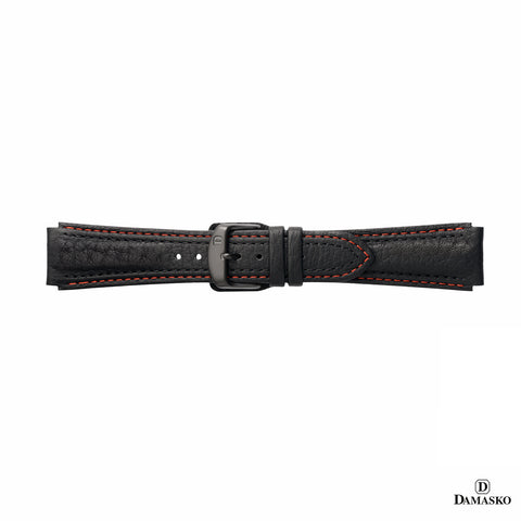 DAMASKO LEATHER STRAP - RED-BLACK STITCHING - BLACK PIN BUCKLE