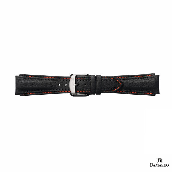 DAMASKO LEATHER STRAP - RED-BLACK STITCHING - STEEL PIN BUCKLE - www.toptime.eu