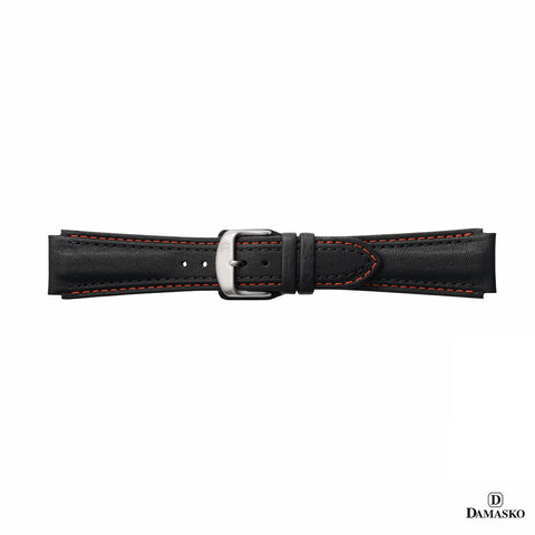 DAMASKO LEATHER STRAP - RED-BLACK STITCHING - STEEL PIN BUCKLE