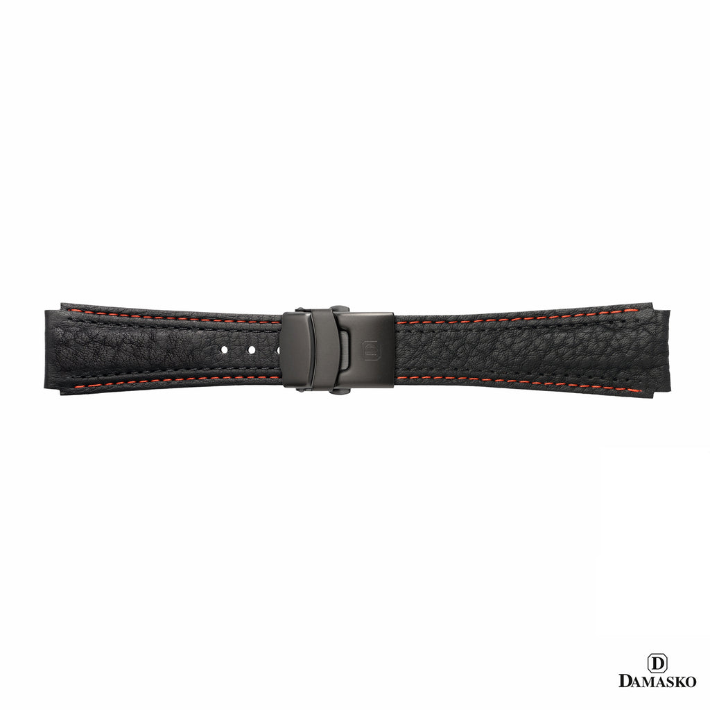 DAMASKO LEATHER STRAP - RED-BLACK STITCHING - BLACK DEPLOYMENT CLASP - www.toptime.eu