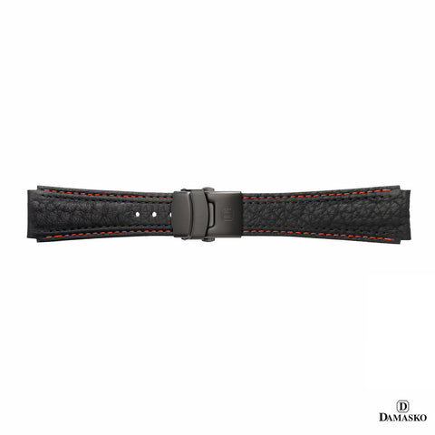 DAMASKO LEATHER STRAP - RED-BLACK STITCHING - BLACK DEPLOYMENT CLASP