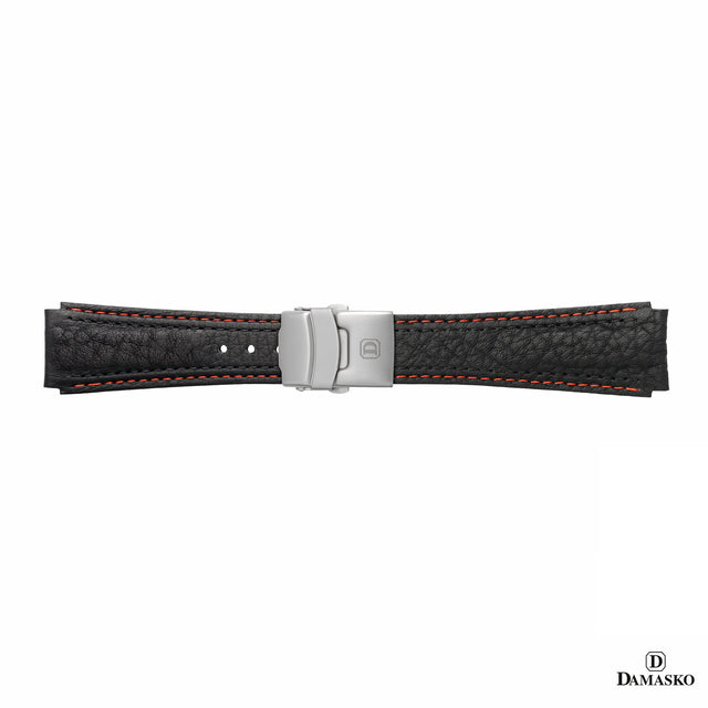 DAMASKO LEATHER STRAP - RED-BLACK STITCHING - STEEL DEPLOYMENT CLASP - www.toptime.eu