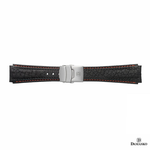 DAMASKO LEATHER STRAP - RED-BLACK STITCHING - STEEL DEPLOYMENT CLASP