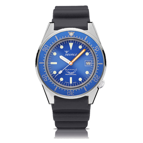 SQUALE 50 ATM - blue polished - black rubber strap