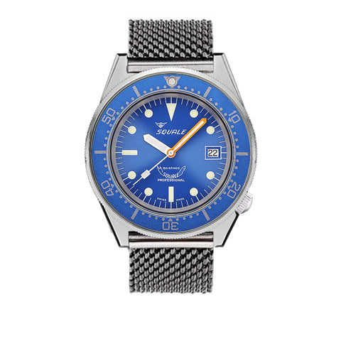 SQUALE 50 ATM - blue polished - mesh bracelet